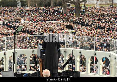 US President Barack Obama addresses the crowd during his acceptance speech at the 57th Presidential Inauguration - Stock Photo