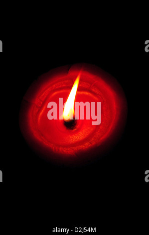 Lit diya, traditional oil lamps made from clay, India - Stock Photo