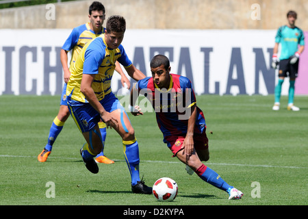 BARCELONA, SPAIN - MAY 15: Rafa Alcantara, Rafinha, plays with F.C Barcelona youth team against U.D Las Palmas on - Stock Photo