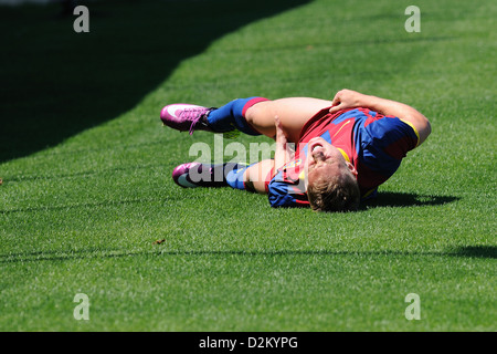 BARCELONA, SPAIN - MAY 15: Gerard Deulofeu plays with F.C Barcelona youth team against U.D Las Palmas on May 15, - Stock Photo
