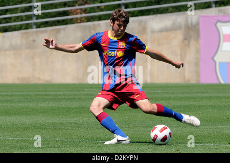 BARCELONA, SPAIN - MAY 15: Sergio Ayala plays with F.C Barcelona youth team against U.D Las Palmas on May 15, 2011. - Stock Photo