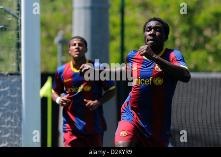 BARCELONA, SPAIN - MAY 15: Jean Marie Dongou plays with F.C Barcelona youth team against U.D Las Palmas on May 15, - Stock Photo