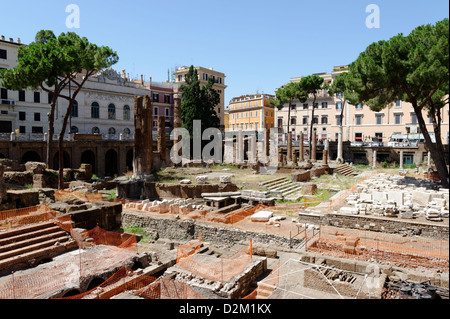 Rome. Italy. View of the ruins of four Republican era Temples located at Largo di Torre Argentina. - Stock Photo