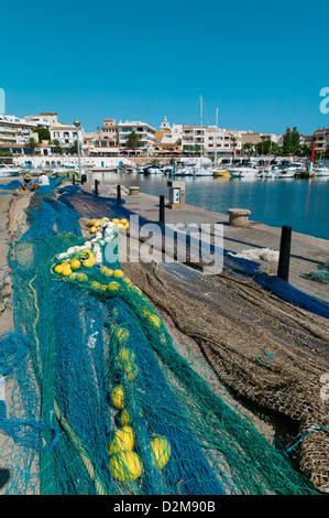 Fishing Nets At Cala Ratjada,Island Of Palma,Balearic Islands,Spain - Stock Photo