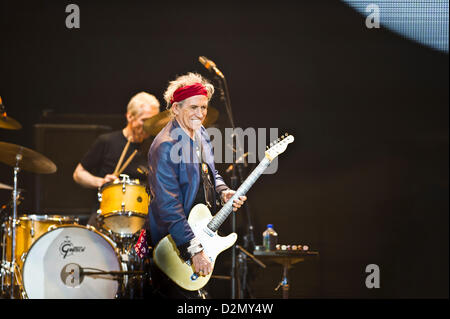 The Rolling Stones performing at the O2 in London, United Kingdom on 29 November 2012. Photo by: Carsten Windhorst - Stock Photo