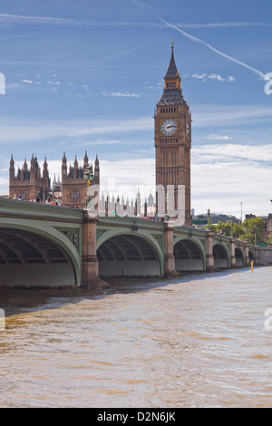 Westminster Bridge and the Houses of Parliament across the River Thames, London, England, United Kingdom, Europe - Stock Photo