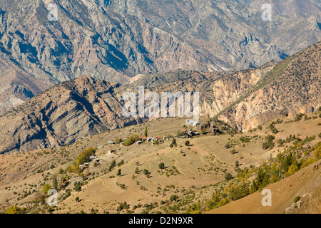 Small village in mountains - Stock Photo