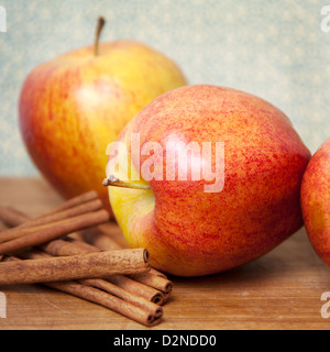 Red apples and cinnamon sticks go together - Stock Photo