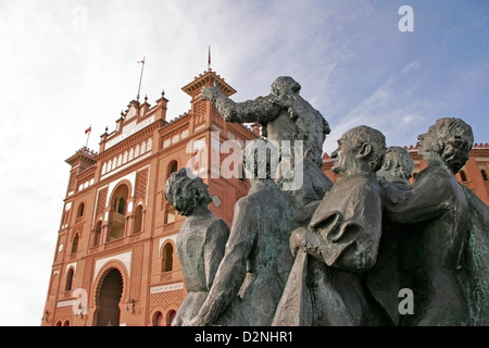 Bullfighter sculpture in front of Bullfighting arena Plaza de Toros Stock Pho...