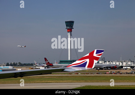 London Heathrow Airport view from a window of Virgin Atlantic A340 - Stock Photo
