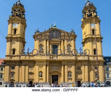 The 17th-century baroque Theatinerkirche St Kajetan in Munich, Germany - Stock Photo