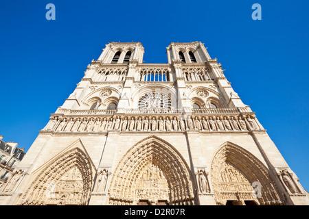 Front facade of the Cathedral of Notre Dame, Ile de la Cite, Paris, France, Europe - Stock Photo