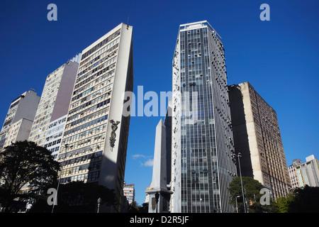 Skyscrapers in Praca Sete, Belo Horizonte, Minas Gerais, Brazil, South America - Stock Photo