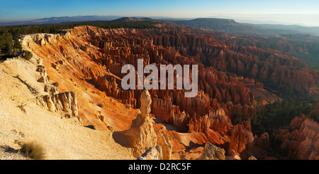Panoramic photo of sunrise from Inspiration Point, Bryce Canyon National Park, Utah, United States of America, North - Stock Photo
