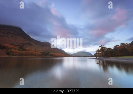 Buttermere at dusk, Lake District National Park, Cumbria, England, United Kingdom, Europe - Stock Photo