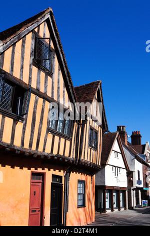 Half timbered buildings on Silent Street, Ipswich, Suffolk, England, United Kingdom, Europe - Stock Photo