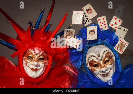 Close up of a two persons wearing a mask during the Carnival in Venice - Stock Photo