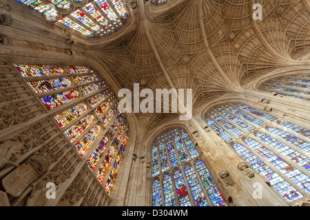 Kings College Chapel stained glass windows and ornate ceiling - Stock Photo