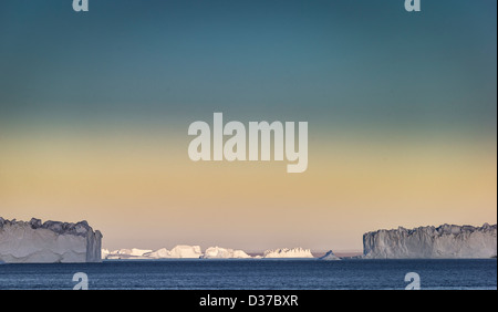 Icebergs, Scoresbysund, Greenland - Stock Photo
