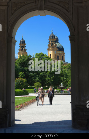 Theatinerkirche from the Temple of Diana, Hofgarten, Munich, Bavaria, Germany - Stock Photo