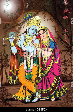 Hindu god and goddess Radha-Krishna - Stock Photo