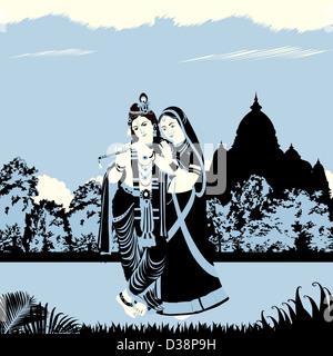 Lord Krishna with Goddess Radha - Stockfoto