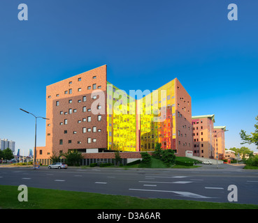 colorful facade of a modern office building in Deventer, Netherlands - Stock Photo