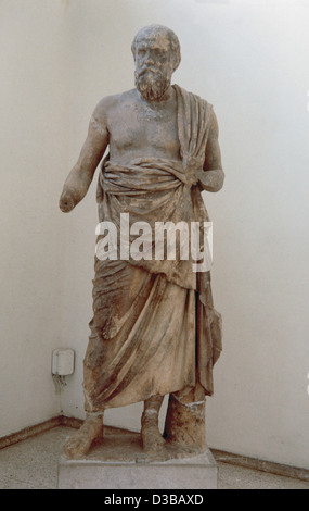 Greek Art. Greece. Marble statue of a greek philosopher. Probably Socrates. c. 4th century BC. Dephi Archaeological - Stockfoto