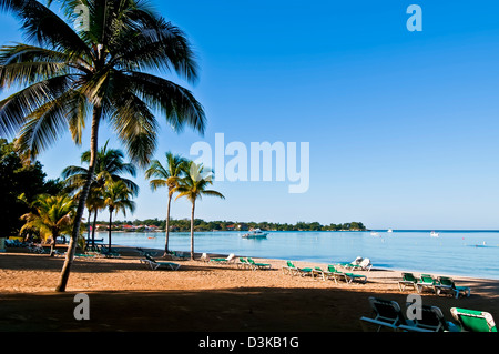 Deserted Negril beach flanked by coconut palm trees early in the morning - Stock Photo