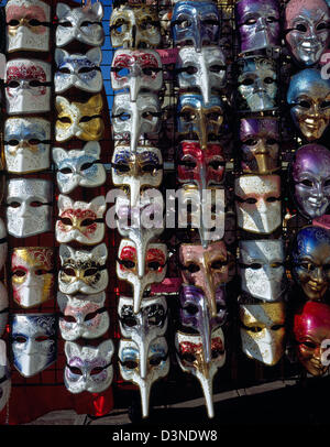 Typical Venetian carnival masks are on sale in Venice, Italy, February 2005. Photo: Willy Matheisl - Stock Photo