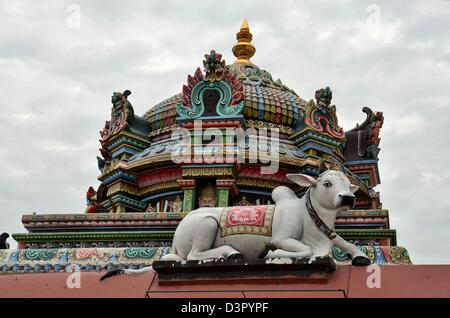 Cow and dome at Sri Mariamman Hindu Temple Singapore - Stock Photo