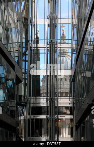 St Paul's Cathedral reflected in the One New Change Shopping Centre, City of London, England, UK, GB - Stock Photo