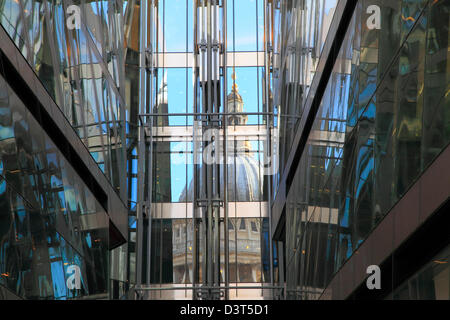 St Pauls Cathedral Reflected in the New Change Shopping Centre City of London England  UK GB - Stock Photo