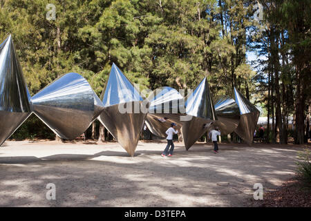 'Cones' sculpture by Bert Flugelman.  Canberra, Australian Capital Territory (ACT), Australia - Stock Photo