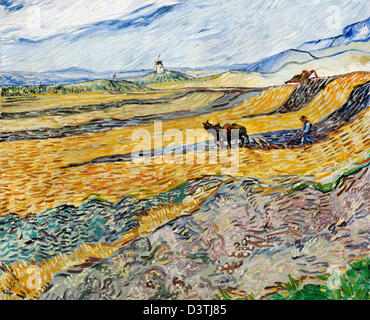 Vincent van Gogh, Enclosed Field with Ploughman 1889 Oil on canvas. Museum of Fine Arts Boston, Massachusetts - Stock Photo