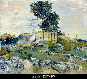 Vincent van Gogh, The Rocks 1888 Oil on canvas. Museum of Fine Arts, Houston, Texas, USA - Stock Photo