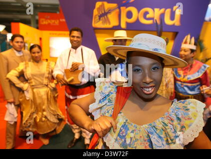 Members of a Peruvian folkloristic group pictuerd in the forerunning to the CMT tourism fair in Stuttgart, Germany, - Stock Photo