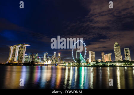 View of the Singapur Marina at night, Asia - Stock Photo