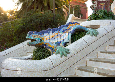 Colorful mosaic lizard fountain by Gaudi at Parc Guell, Barcelona, Spain, Europe - Stock Photo