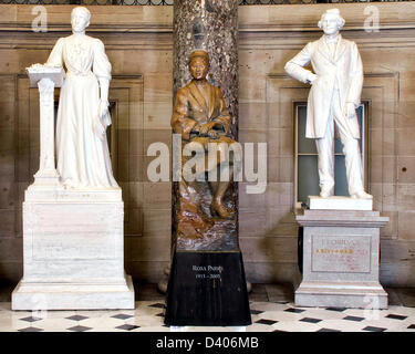 A statue of civil rights activist Rosa Parks stands in National Statuary Hall in the United States Capitol after - Stock Photo