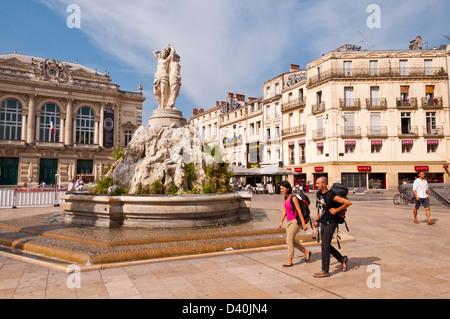 The Statue of Three Graces (goddesses) on La Place de la Comédie, Montpellier, Hérault, Languedoc-Roussillon, France - Stock Photo