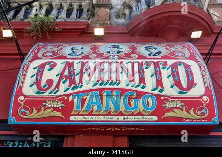 Caminito Tango Sign, La Boca, Buenos Aires, Argentina - Stock Photo
