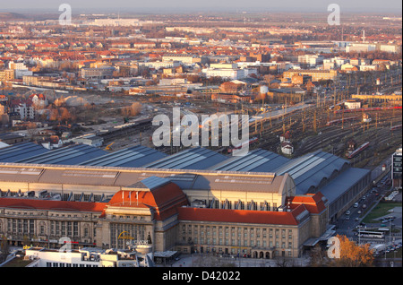 Leipzig, Germany, the former Communist part of the Leipzig Central Station - Stock Photo
