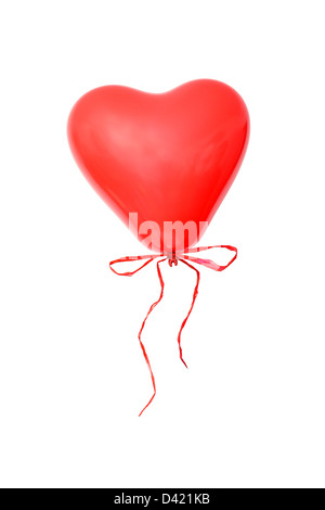 Red heart-shaped balloon with cockade over white background - Stockfoto