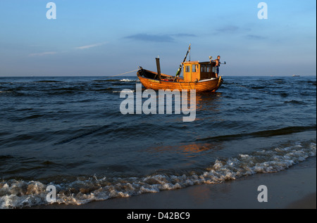 Heringsdorf, Germany, the fishing boat Petrel-Usedom on the Baltic Sea - Stock Photo