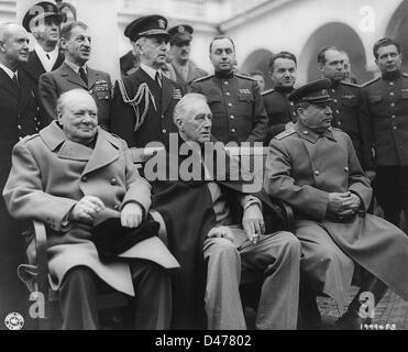 Roosevelt, Churchill and Stalin at the palace of Yalta - Stock Photo
