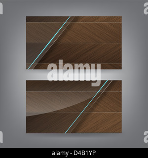 Wood and neon glass theme business card template (Part 1) - Stock Photo