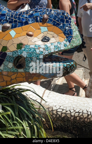 Lizard fountain at the Park Guell in Barcelona, Spain - Stock Photo