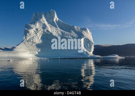 Grounded icebergs, Rode O (Red Island), Scoresbysund, Northeast Greenland, Polar Regions - Stock Photo