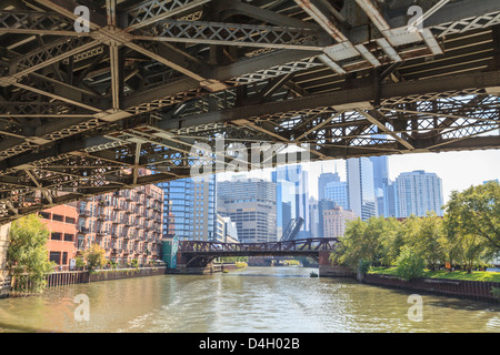 Under one of the many steel bridges that cross the Chicago River, Chicago, Illinois, USA - Stock Photo